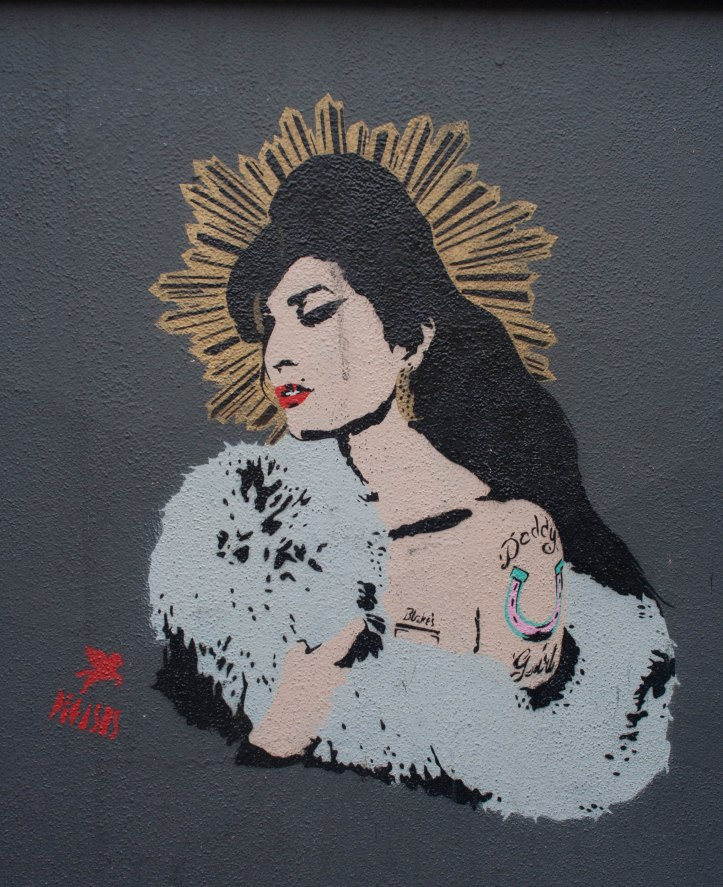 Amy Winehouse portrait by Pegasus. Street Art, Camden. London. Staycation Inspiration.