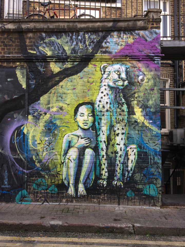 Hawley Mews Cheetah by Alice Pasquini. Street Art, Camden, London. Staycation Inspiration.