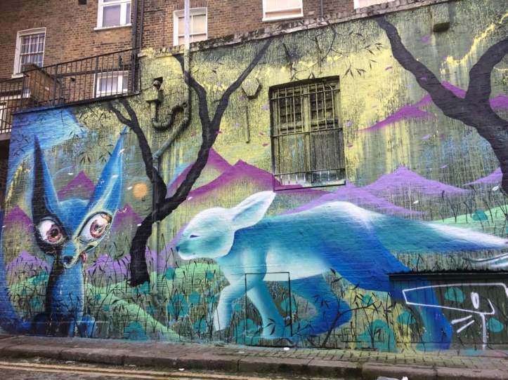 Hawley Mews foxes by Himbad and Marina Zumi. Street Art Camden, London. Staycation Inspiration