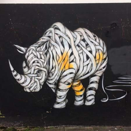 Otto Schade's Rhino, Hawley Street. Street Art, Camden, London. Staycation Inspiration