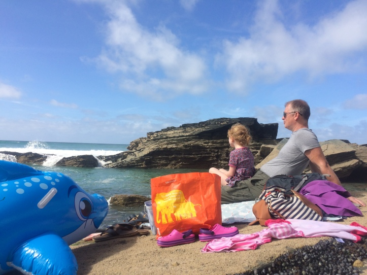 Matt and Kitty at Trebarwith Strand. Photo: Siobhan Starrs. A beach staycation in Cornwall.