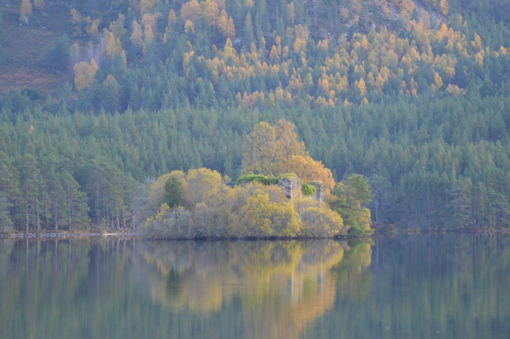 Loch an Eilein Castle, Rothiemurchus. The Cairngorm region is a great place for a staycation. Lots of family fun to do including walking, biking and horse riding.